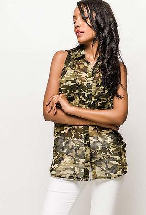 Chemise sans manche camouflage