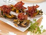 Tapas with Chorizo and Fresh White Mushrooms