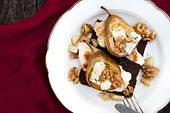 Grilled Chicken Breast with Pear, Roquefort Cheese and Walnuts on Pumpernickel