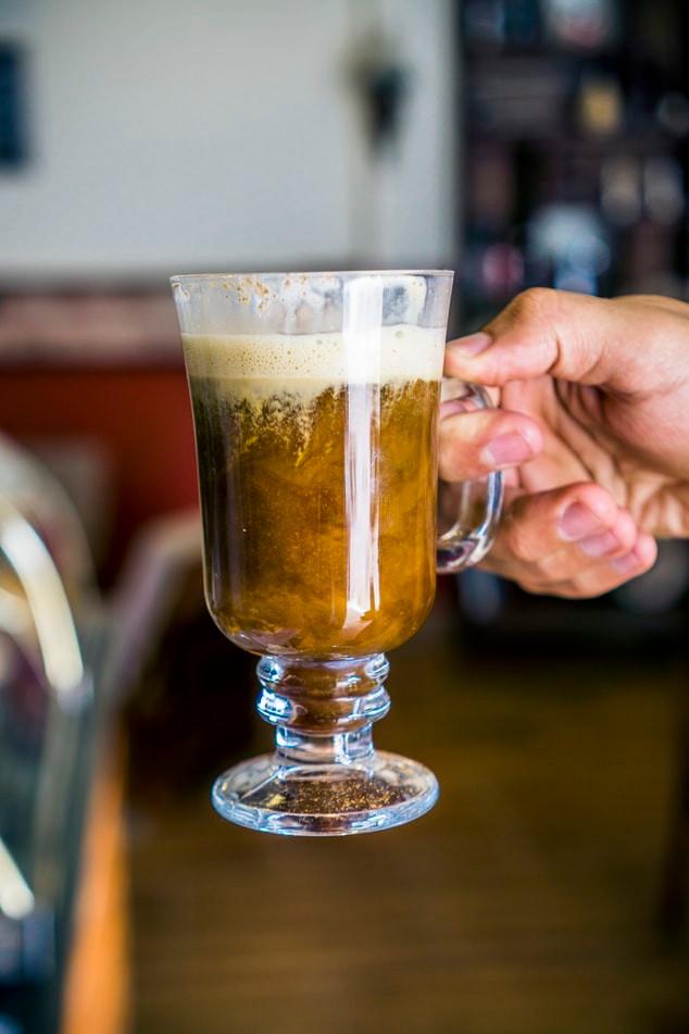 Irish coffee in a glass cup