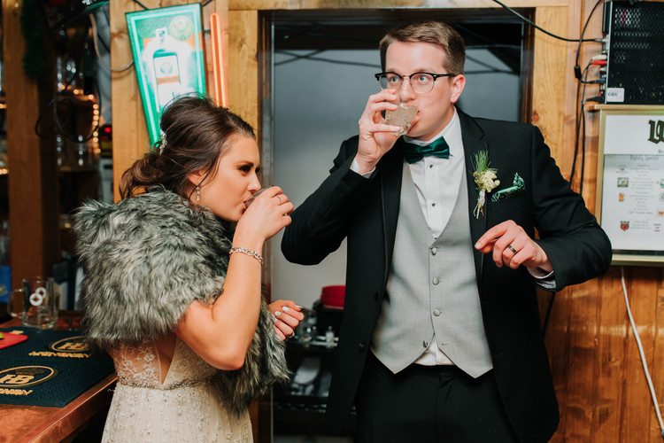 Bride and Groom Taking Their First Shot