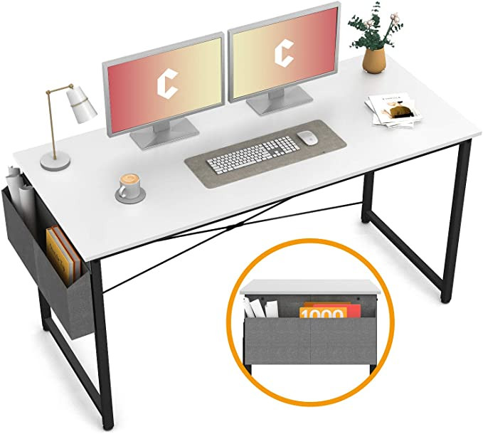 55-Inch Black and White Desk From Amazon