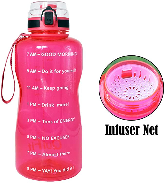 Clear Pink Water Bottle with Infuser Net for Fruit From Amazon