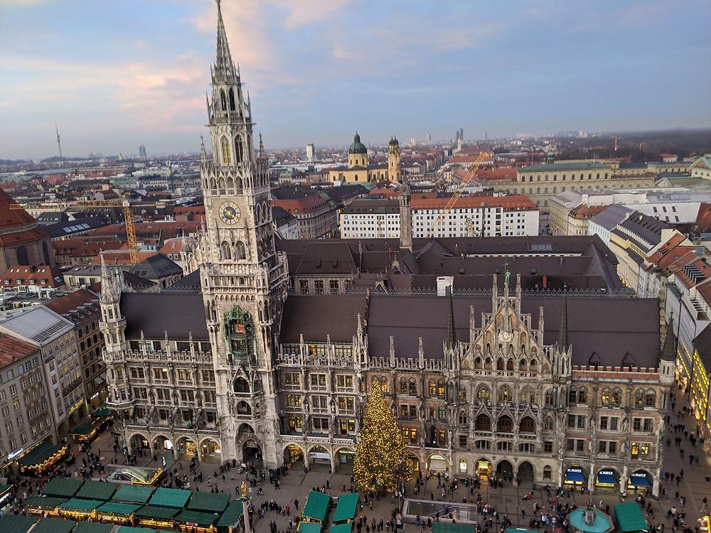 Marienplatz from St. Peter's Tower, Munich, Germany