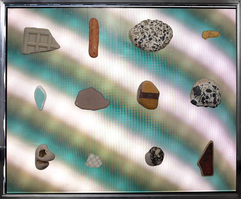Floating Construction Waste II, 2019  Stones on a screen 110 x 60 cm