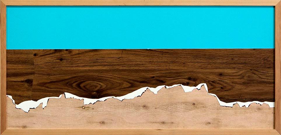 """Panoramic View #daytime"", 2015  Wallpaper on wood  41.5 x 90.5 cm"