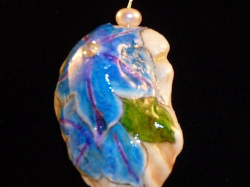 Blue Morning Glory hand painted on a Florida oyster shell