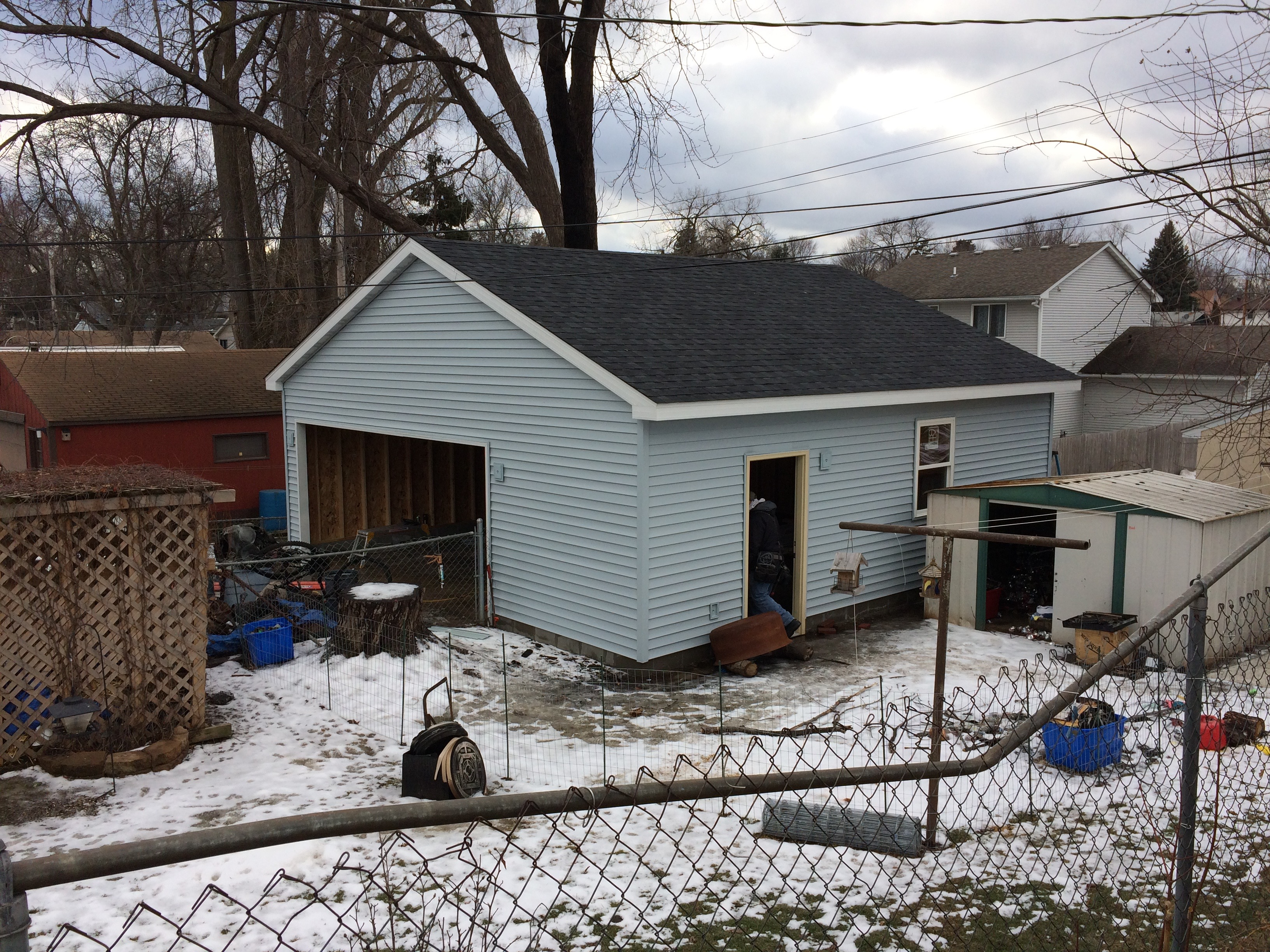 new siding, new garage
