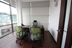 Executive Table, Chair, Blinds