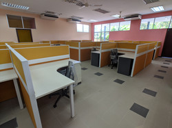 Partition, tables & chairs