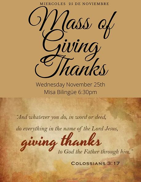 Mass of giving Thanks Wednesday november