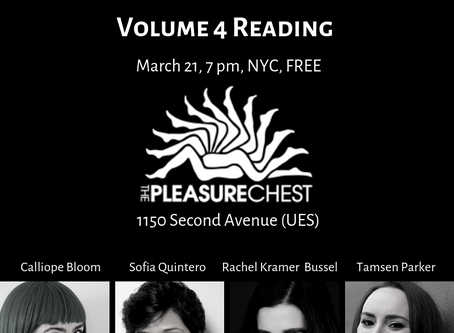 New York City reading, free audio erotica, new giveaway and Cosmo shoutout