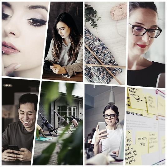 Collage verschiedener Branchen, die von offline auf online erweitern
