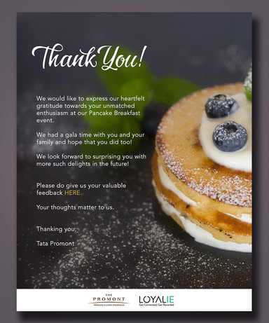 Thank you emailer for pancake event