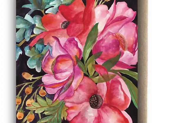 Card   Blank Floral Dark