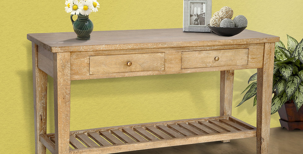 MAH318 - Hampshire 2 drawer table with shelf