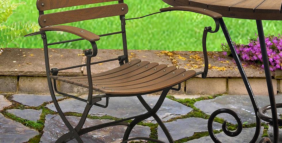 IRT004 - Toscana Iron & Teak Folding Chair With Arms