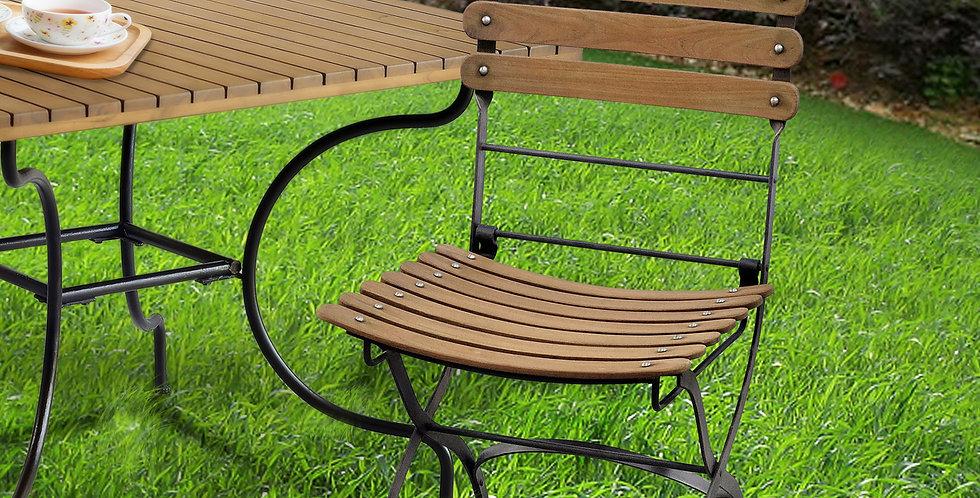IRT003 - Toscana Iron & Teak Folding Chair No Arms