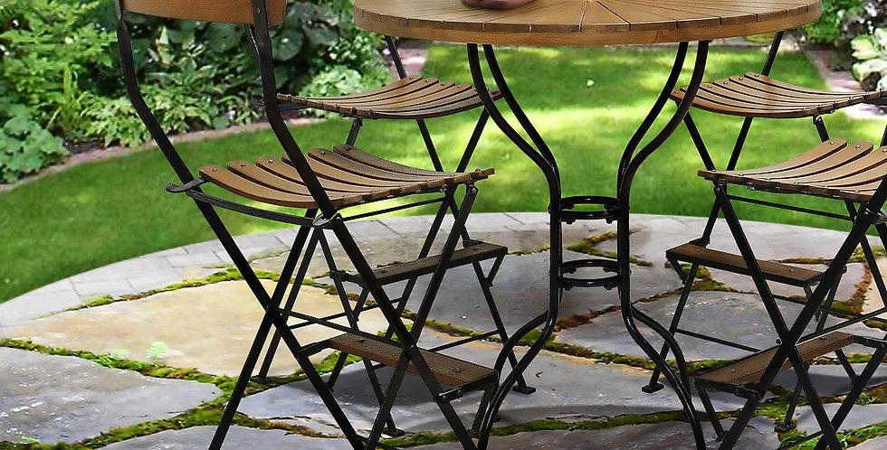 IRT020 - Toscana Iron & Teak Folding Bar Chair No Arms