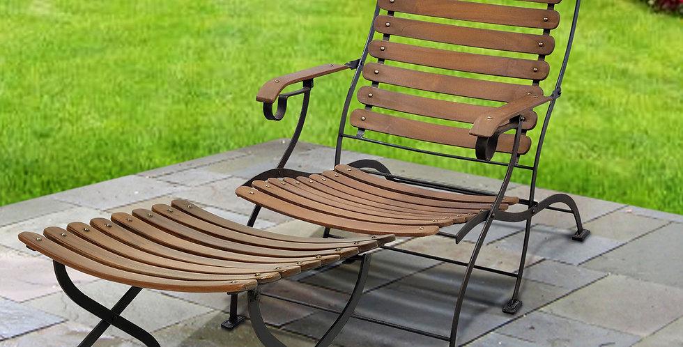 IRT021 - Toscana Iron & Teak Folding Lounge Chair