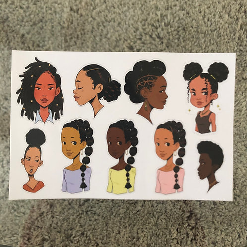 Black Women - Hairstyles (Sticker Sheet)