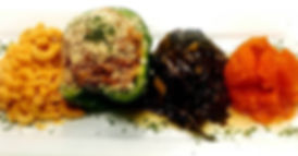 Vegan stuffed bell pepper, vegan macaroni and cheese, sweet potatoes, collard greens