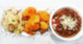 Red beans, chicken fried cauliflower, vegan potato salad