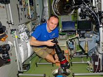 Space meeting with Russian cosmonaut Sergei Ryazansky