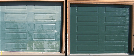 Chalky green garage door next to Restored Garage Door, Restored to new with Everbrite