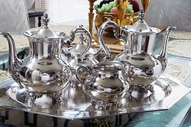 Silver Tea Set coated to keep it shiny and prevent tarnish and fingerprints.