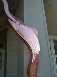 Copper fish gutter protected from tarnish with Everbrite