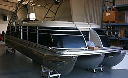 Aluminum pontoon boat and tunatower protected with ProtectaClear.