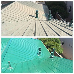 Chalky & oxidized green painted metal roof next to new looking roof that was restored with Everbrite.