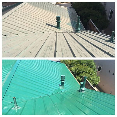 Green painted roof chalky and dull & After the original color restored with Everbrite