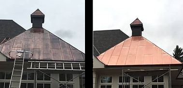 Copper Roof tarnished and black next to Restored Copper Roof - Restored with Everbrite