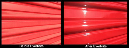 Red Storage Rollup door closeup - Before and after of Everbrite Restoration project.