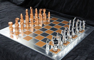 Copper and Silver chess set looks shiny and new is protected with ProtectaClear to prevent discoloration and tarnish.
