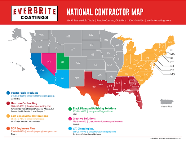 National Contractor Map for Certified Everbrite Contractors
