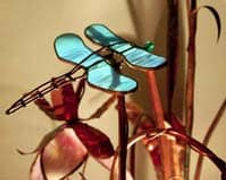 Copper sculpture with dragonfly coated with Everbrite