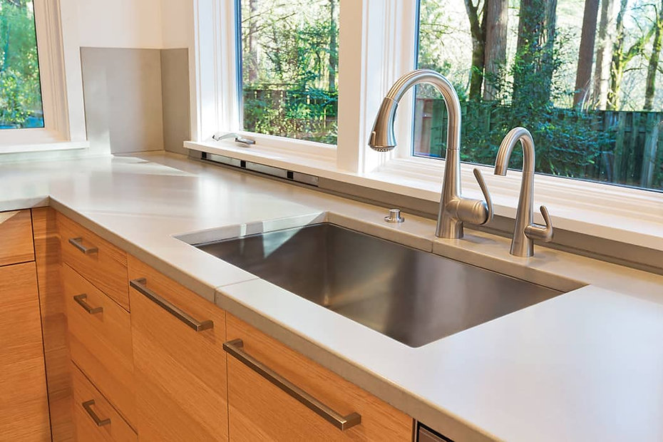 Kitchen Sinks can be protected with CrobialCoat to help eliminate microbe growth & prevent tarnish.