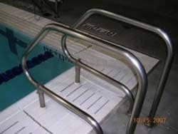 Stainless steel pool railings protected from salt corrosion and rust with ProtectaClear
