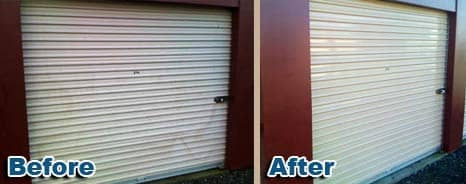White storage doors with red mullions before and after Everbrite Restoration