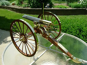 Antique brass Gatling gun restored and protected with ProtectaClear