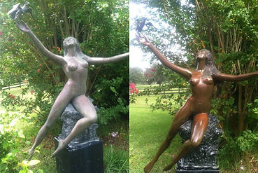 Before and after Bronze statue of Lady restored with Everbrite
