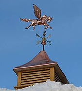 Copper Pegasus Weathervane and Cupola protected from tarnish with Everbrite
