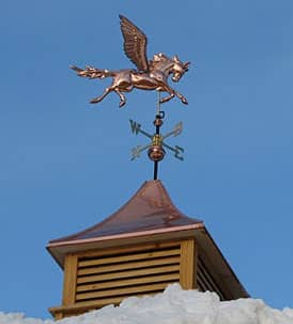 Shiny Pegasus weathervane and copper cupola sealed with Everbrite against tarnish.