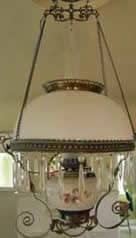 Glass and Brass antique light before restoration