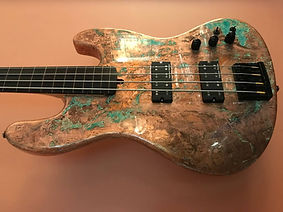 Copper guitar with patina protected from fading and tarnish with ProtectaClear