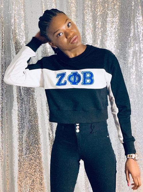 Zeta Phi Beta Color Block Crop Sweater