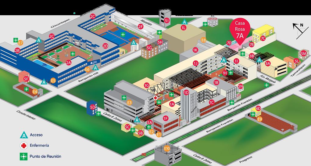 Mapa campus La Salle, México